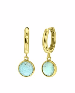 Zilveren Oorbellen Gold Gemstone Amazonite