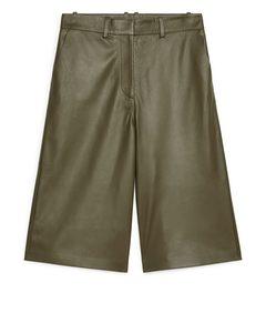 Leather Culottes Khaki Green