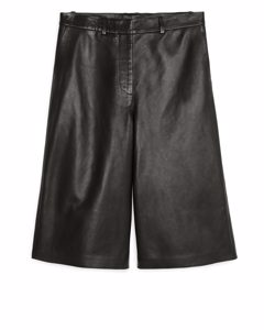 Culottes aus Leder Schwarz