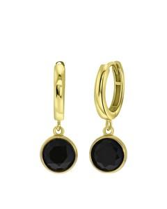 Zilveren Oorbellen Gold Gemstone Black Onyx