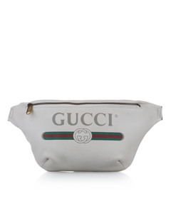 Gucci 2018 Logo Leather Belt Bag White