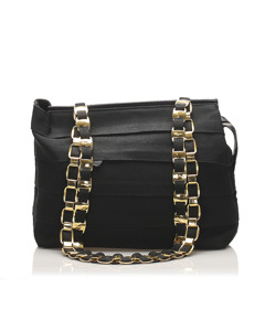 Ferragamo Tiered Grosgrain Chain Tote Bag Black