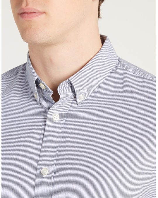 MVP Ebor Poplin Fine Stripe Shirt Navy