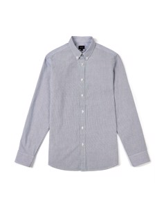 Ebor Poplin Fine Stripe Shirt Navy
