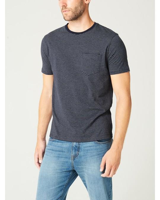 MVP Ampton Fine Stripe Crew Neck T-shirt Navy/grey Melange