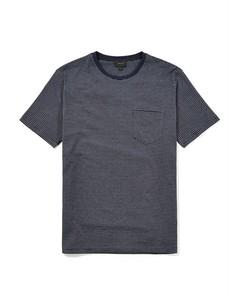 Ampton Fine Stripe Crew Neck T-shirt Navy/grey Melange