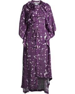 Frill Silk Kaftan Purple Sweep Print
