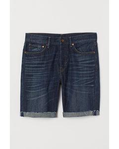 Jeansshorts Straight Dunkelblau