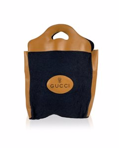 Gucci Vintage Black Felt Tote Handbag Shopping Bag Rare