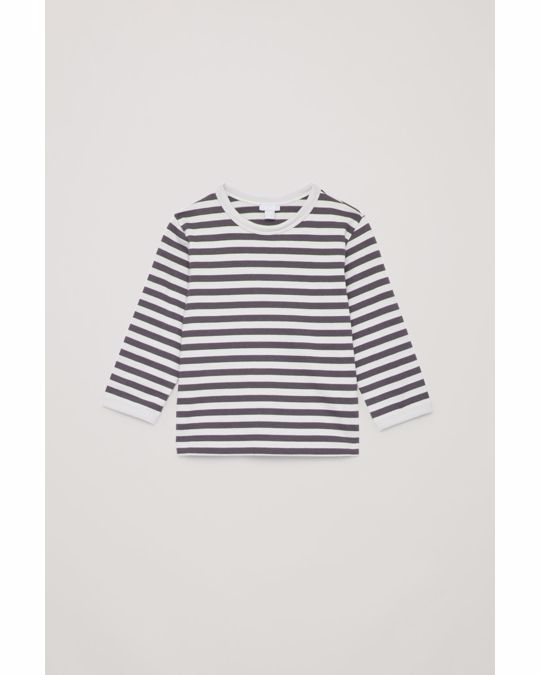 COS STRIPED TOP WITH ELBOW PATCHES Grey / yellow