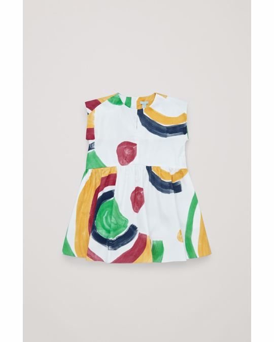 COS FLARED POPLIN DRESS White / yellow / red