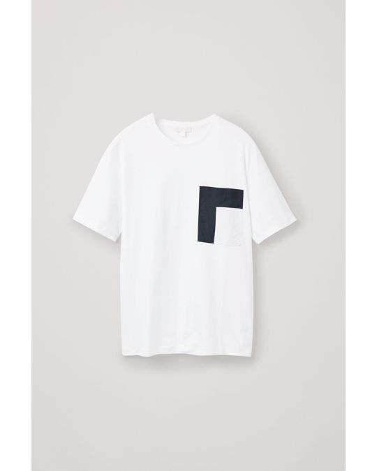 COS T-SHIRT WITH CONTRAST POCKET White / navy