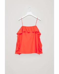 Frilled Cotton-Silk Top Vibrant Orange