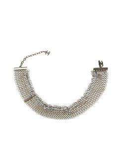 Chanel Beaded Metallic Bracelet Silver