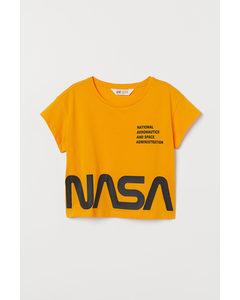Kurzshirt mit Druck Dunkelgelb/NASA