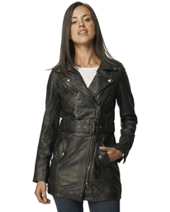 Beatriz Mid-length Zipped Leather Jacket