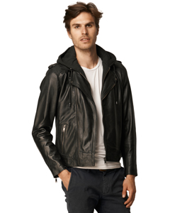 Berat Leather Jacket With Hood