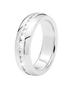 Stalen Ring Met Wit Zirkonia