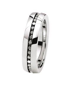 Ring, Edelstahl, mit schwarzem Zirkonia