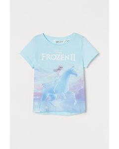 Shirt mit Motivdruck Helltürkis/Eiskönigin