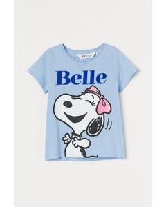 Shirt mit Motivdruck Hellblau/Snoopy