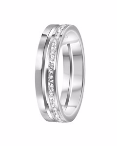 Stalen Ring 2rij Met Kristal
