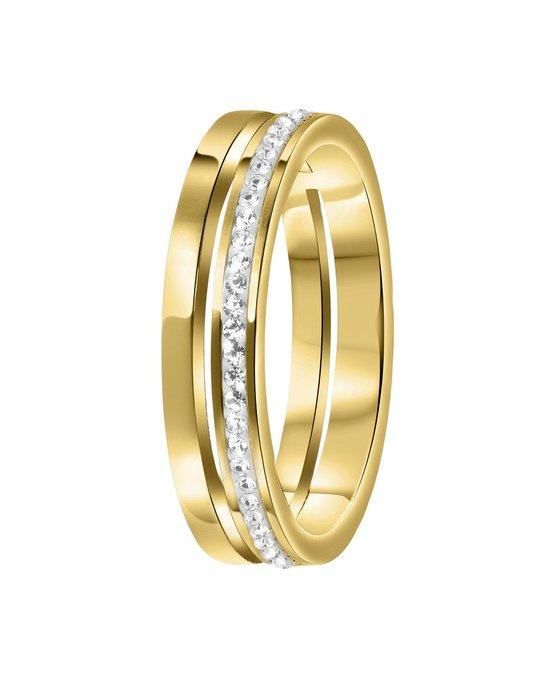 Lucardi Stalen Ring Goldplated 2rij Met Kristal