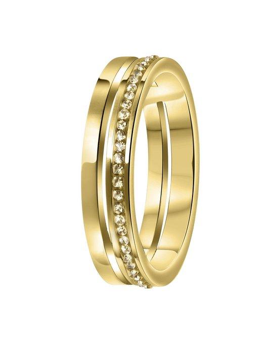 Lucardi Stalen Ring Goldplated 2rij Met Light Colorado