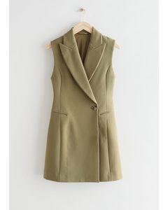 Fitted Sleeveless Blazer Mini Dress Khaki