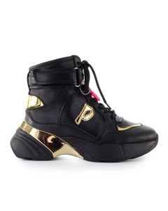 Pinko Lugano 1 Black Gold Leather High Sneaker