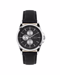Regal Horloge Met Zwart Leren Band