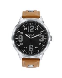 Regal Armbanduhr XL mit einem braunen Lederband