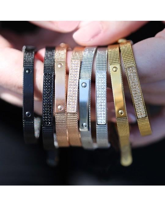 Lucardi Mesh-Armband aus Stahl mit Riemenverschluss