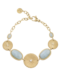 Crinkle Aquamarine Bracelet Matt Gold