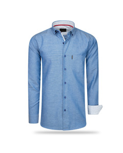 Cappuccino Italia Regular Fit Overhemd Royal Blauw