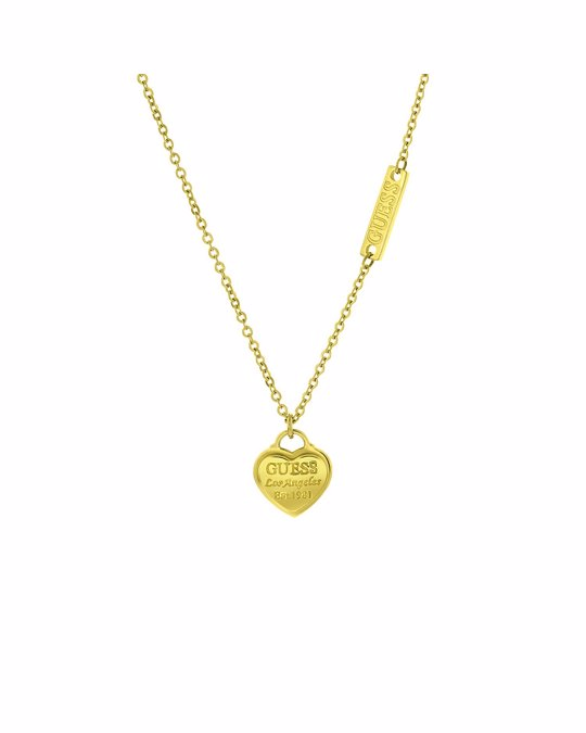 GUESS Edelstahlkette von Guess, vergoldet, Anhänger, Herz, Logo