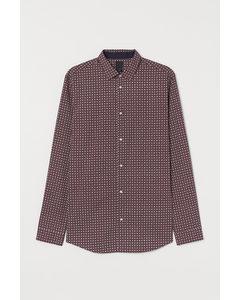 Hemd aus Baumwollmischung Slim Fit Burgund / gemustert