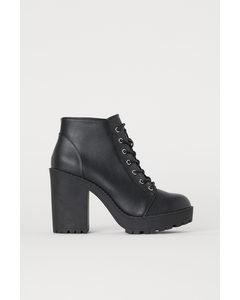 Platform Boots Black/imitation Leather