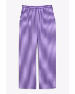 Light-weight Trousers Purple And White Stripes