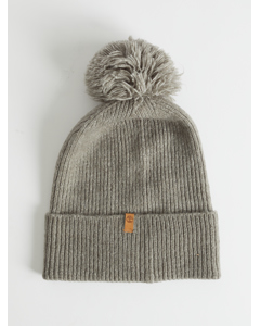 Brushed Pom Pom Beanie Light Grey Heather