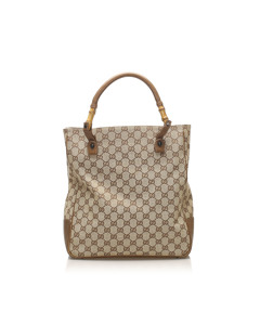 Gucci Gg Canvas Bamboo Tote Bag Brown