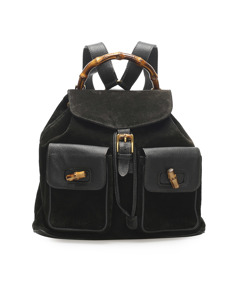 Gucci Bamboo Drawstring Suede Backpack Black