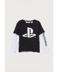 Jerseyshirt mit Druck Schwarz/PlayStation
