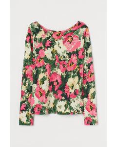 Shirt mit Rückenausschnitt Dunkelgrün/Rosa geblümt