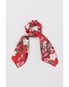 Scrunchie Med Scarfdetalj Röd/blommig