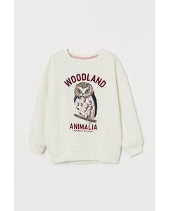 Sweatshirt Med Paljetter Crèmevit/uggla
