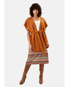 Poncho Sleeveless Wrap Cardigan In Rust Brown