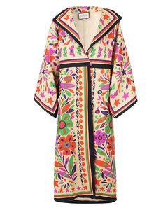 Mantel im Kimono-Stil mit Leinenmischung im Paradiesdruck