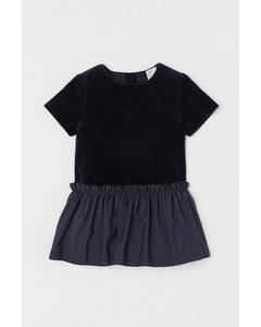 Sammetsklänning Mörkblå