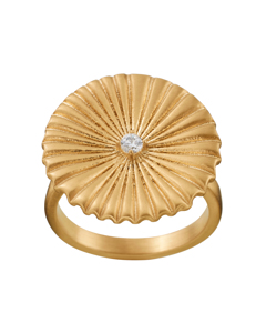 Crinkle Ring Matt Gold